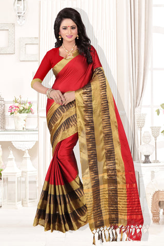 Red and Gold Color Cotton Silk Saree - KVS35002