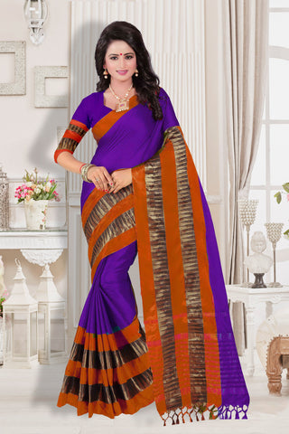 Purple and Orange Color Cotton Silk Saree - KVS35005