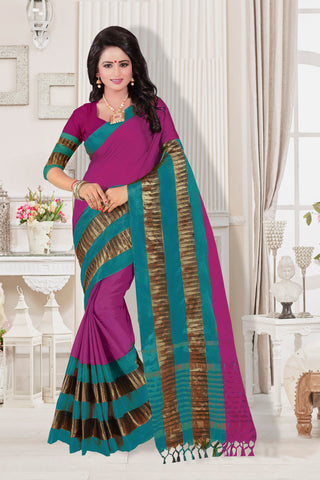 Magenta and Teal Green Color Cotton Silk Saree - KVS35006