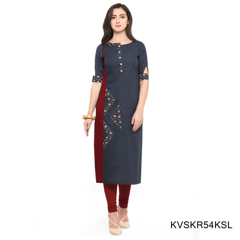Grey Color Rayon Stitched Kurti - KVSKR54KSL