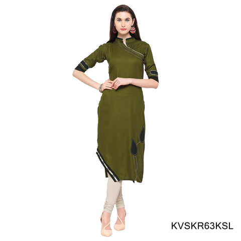 Olive Green Color Rayon Stitched Kurti - KVSKR63KSL