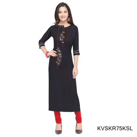 Black Color Cotton Stitched Kurti - KVSKR75KSL