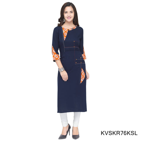 Navy Blue Color Cotton Stitched Kurti - KVSKR76KSL