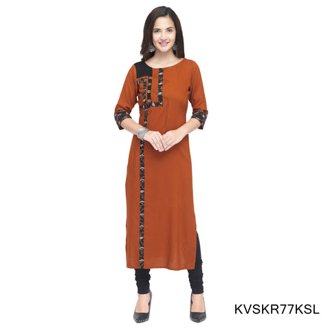Orange Color Cotton Stitched Kurti - KVSKR77KSL