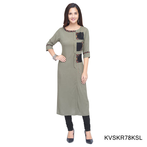 Grey Color Cotton Stitched Kurti - KVSKR78KSL