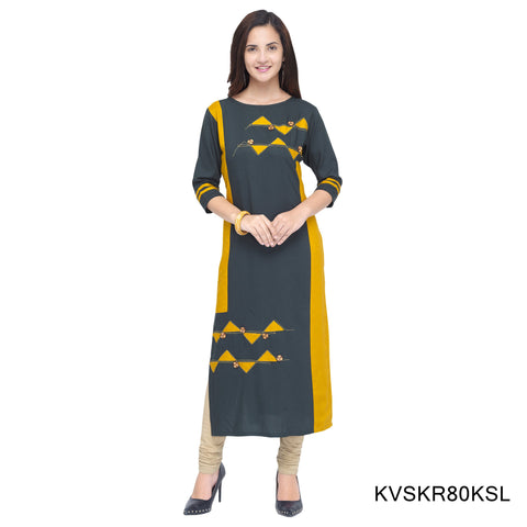Grey and Yellow Color Cotton Stitched Kurti - KVSKR80KSL