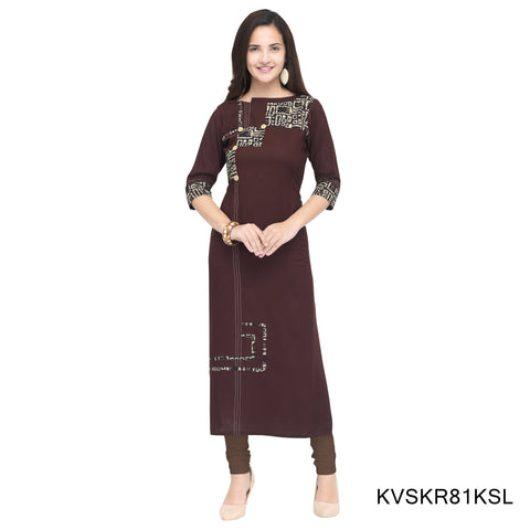 Brown Color Cotton Stitched Kurti - KVSKR81KSL