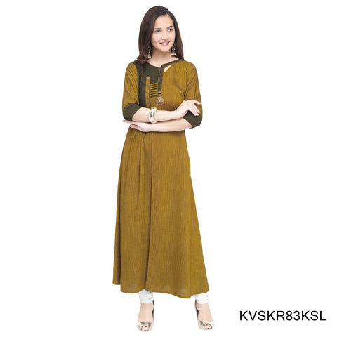 Yellow Color Rayon Stitched Kurti - KVSKR83KSL