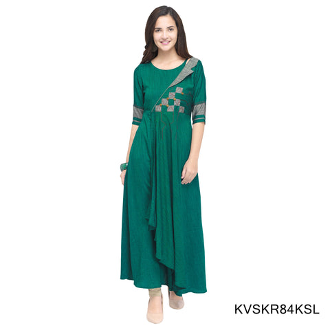 Dark Sea Green Color Rayon Stitched Kurti - KVSKR84KSL