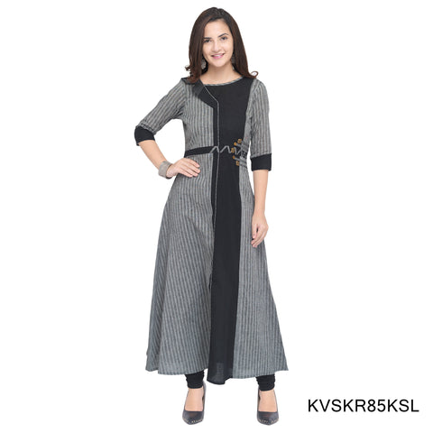 Grey and Black Color Rayon Stitched Kurti - KVSKR85KSL