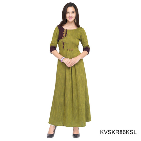 Olive Green Color Rayon Stitched Kurti - KVSKR86KSL