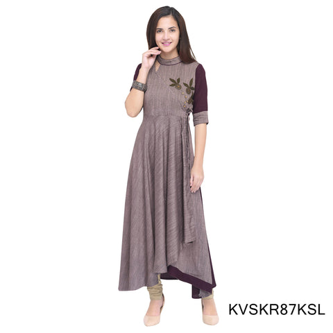 Cement Color Rayon Stitched Kurti - KVSKR87KSL
