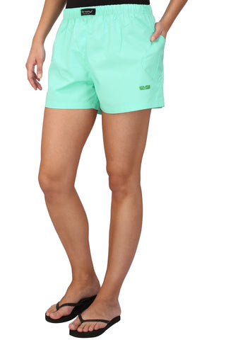 Green Color Cotton Women's Boxer - KWB4001