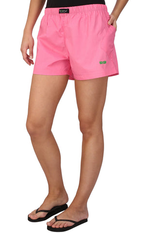 Pink Color Cotton Women's Boxer - KWB4002