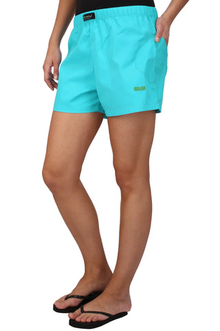 Blue Color Cotton Women's Boxer - KWB4003