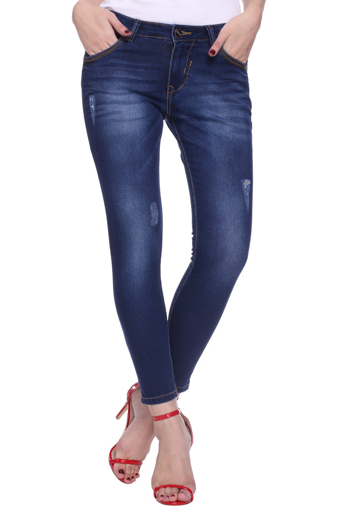 Buy Dark Blue Color Cotton Lycra Women's Jeans