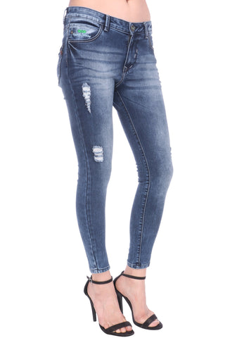 Blue Color Cotton Lycra Women's Jeans - KWJ5006