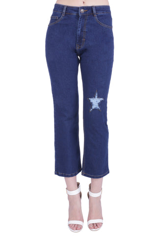 Blue Color Cotton Lycra Women's Jeans - KWJ5007
