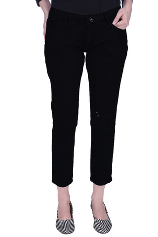 Black Color Cotton Lycra Women's Jeans - KWJ5010