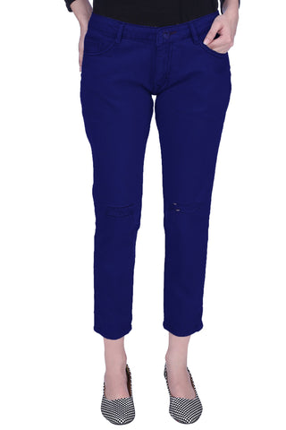 Dark Blue Color Cotton Lycra Women's Jeans - KWJ5011