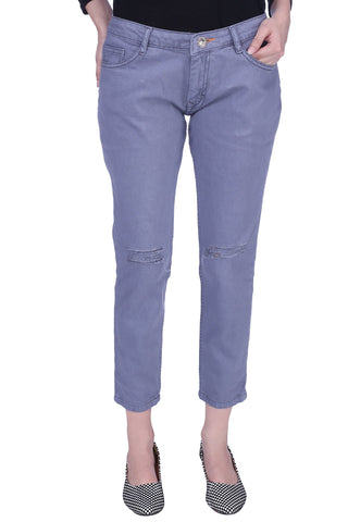 Grey Color Cotton Lycra Women's Jeans - KWJ5012