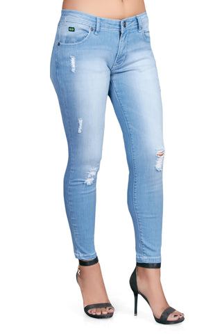 Blue Color Cotton Lycra Women's Jeans - KWJ5013