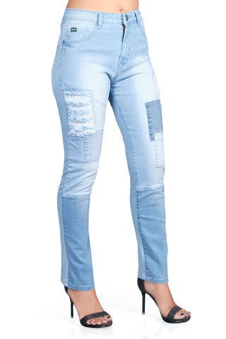 Blue Color Cotton Lycra Women's Jeans - KWJ5014