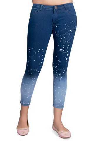 Blue Color Cotton Lycra Women's Jeans - KWJ5015