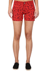 Buy Red Color Cotton Lycra Women's Short