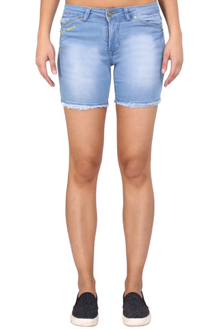 Light Blue Color Cotton Lycra Women's Short - KWS3001