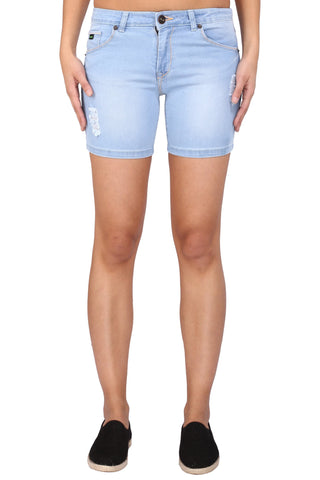 Light Blue Color Cotton Lycra Women's Short - KWS3002