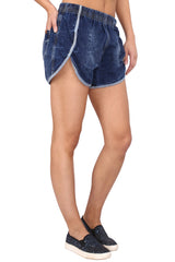 Buy Blue Color Cotton Lycra Women's Short