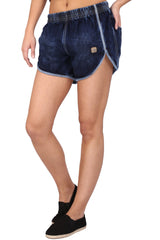 Buy Dark Blue Color Cotton Lycra Women's Short