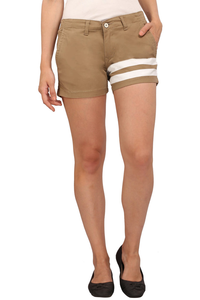 Buy Brown Color Cotton Lycra Women's Short