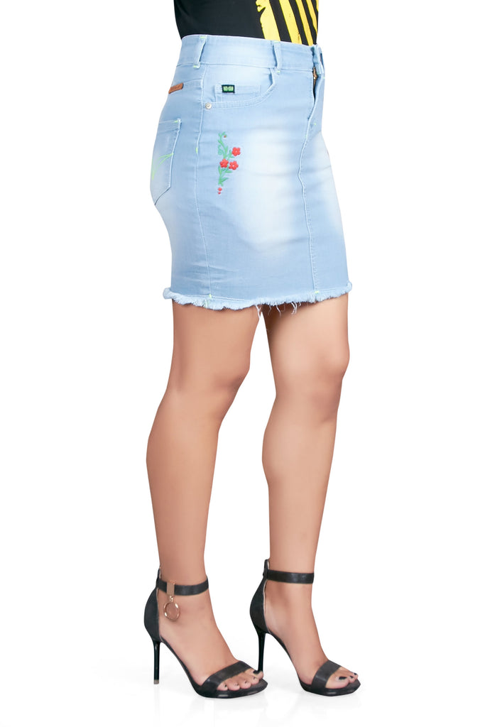 Buy Light Blue Color Cotton Lycra Women's Skirt