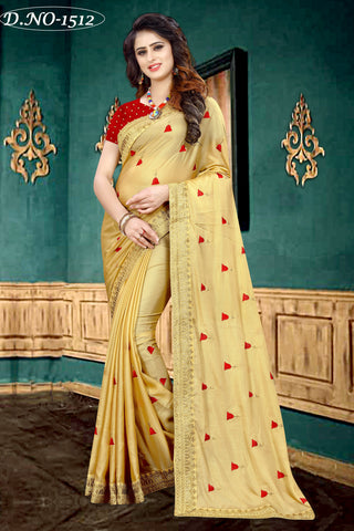 Gold Color Fancy Georgette Half Potting Saree  - Kathiyawadi-1512