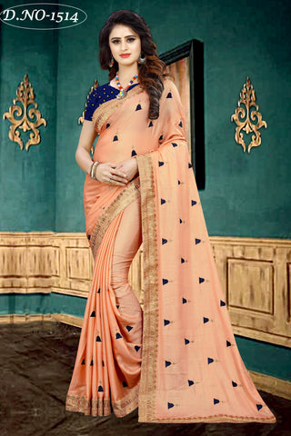 Orange  Color Fancy Georgette Half Potting Saree  - Kathiyawadi-1514