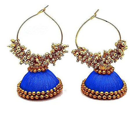 Blue Color Silk Thread Ear Rings - Kavya-002