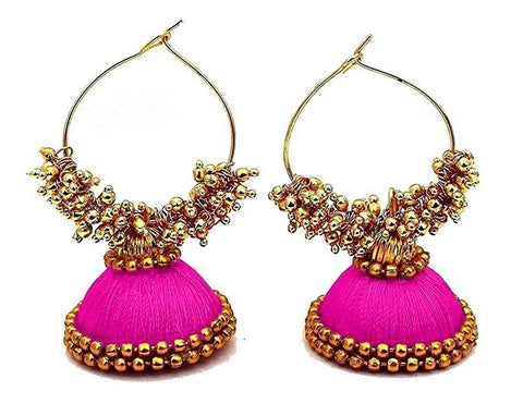 Pink Color Silk Thread Ear Rings - Kavya-003
