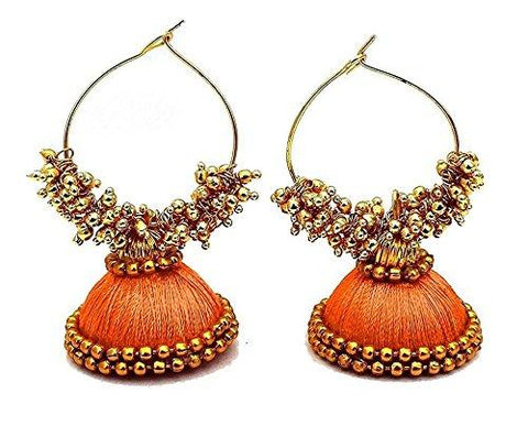 Orange Color Silk Thread Ear Rings - Kavya-004