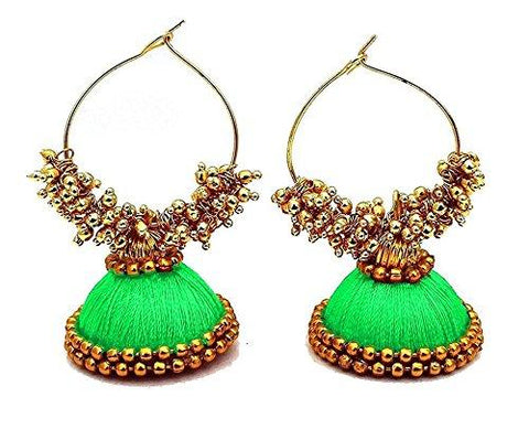 Green Color Silk Thread Ear Rings - Kavya-005