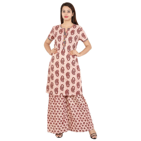 Light Brick Red Color Cotton Stitched Kurti  - Kavya-12
