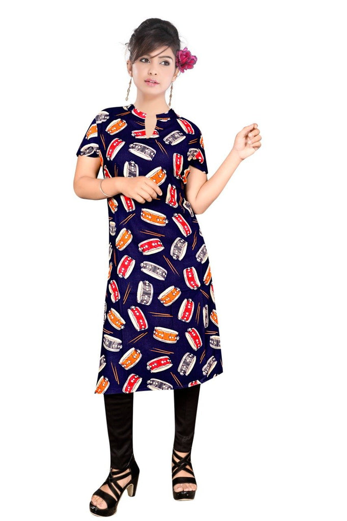Buy Navy Blue Color Rayon Stitched Kurti
