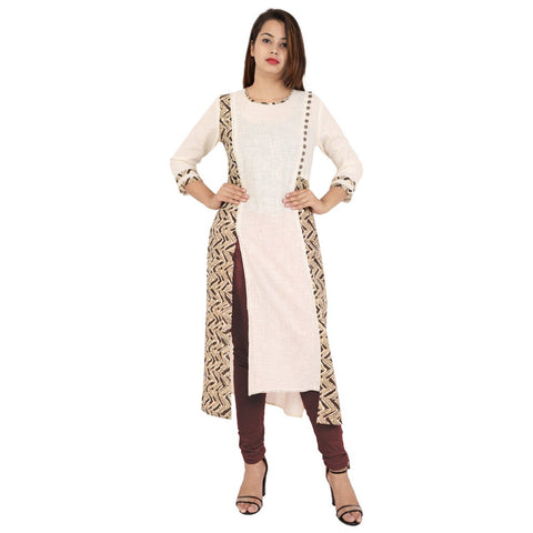 Cream Color Cotton Slub Stitched Kurti  - Kavya-38