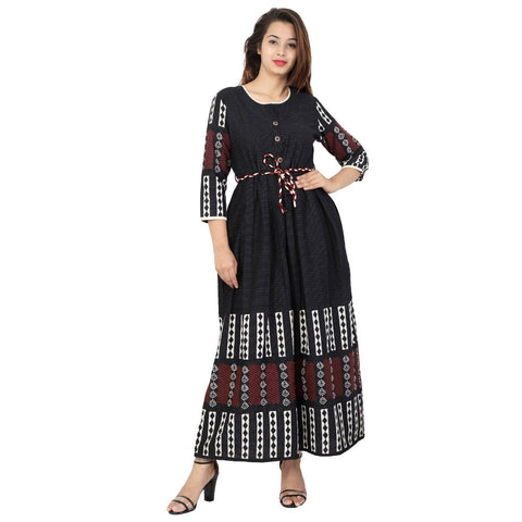 Black Color Cotton Katha Stitched Kurti  - Kavya-46