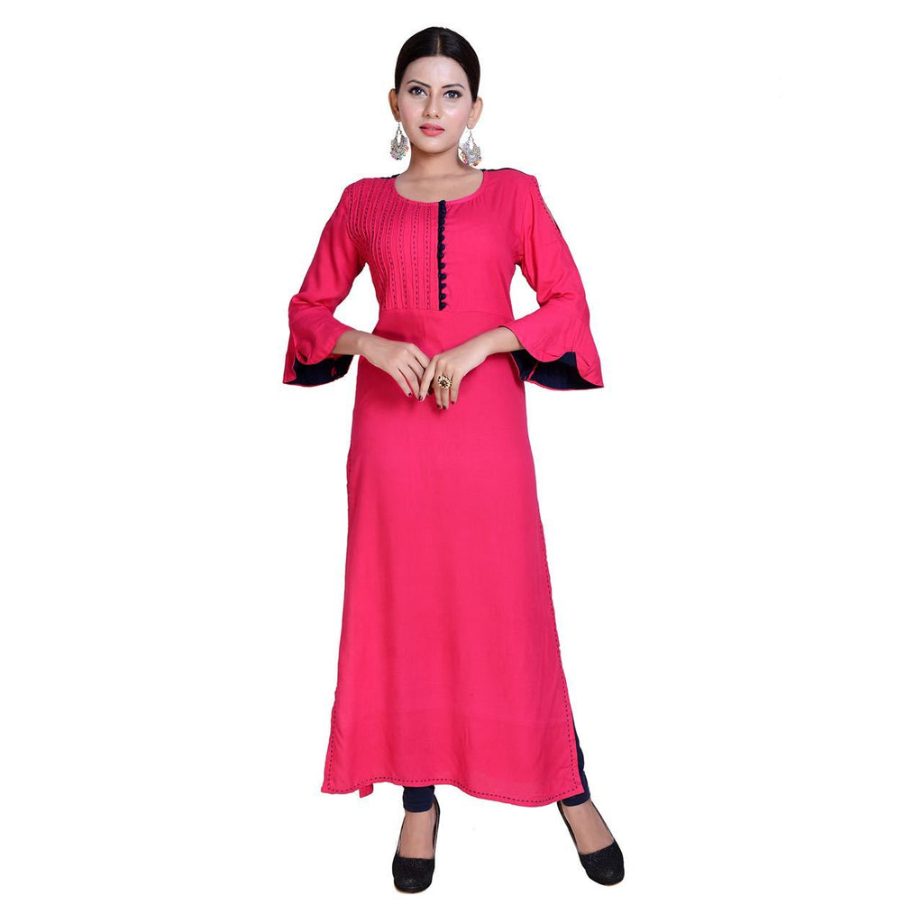 Buy Dark Pink Color Rayon Stitched Kurti