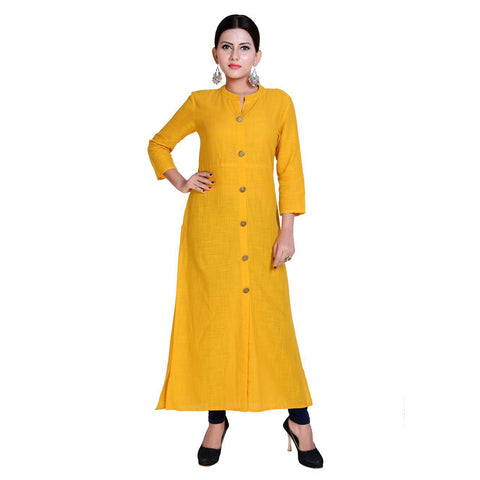 Yellow Color Rayon Stitched Kurti  - Kavya-5