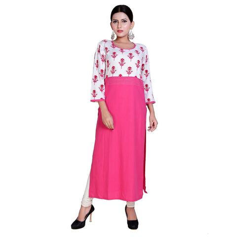 White And Pink Color Rayon Stitched Kurti  - Kavya-6