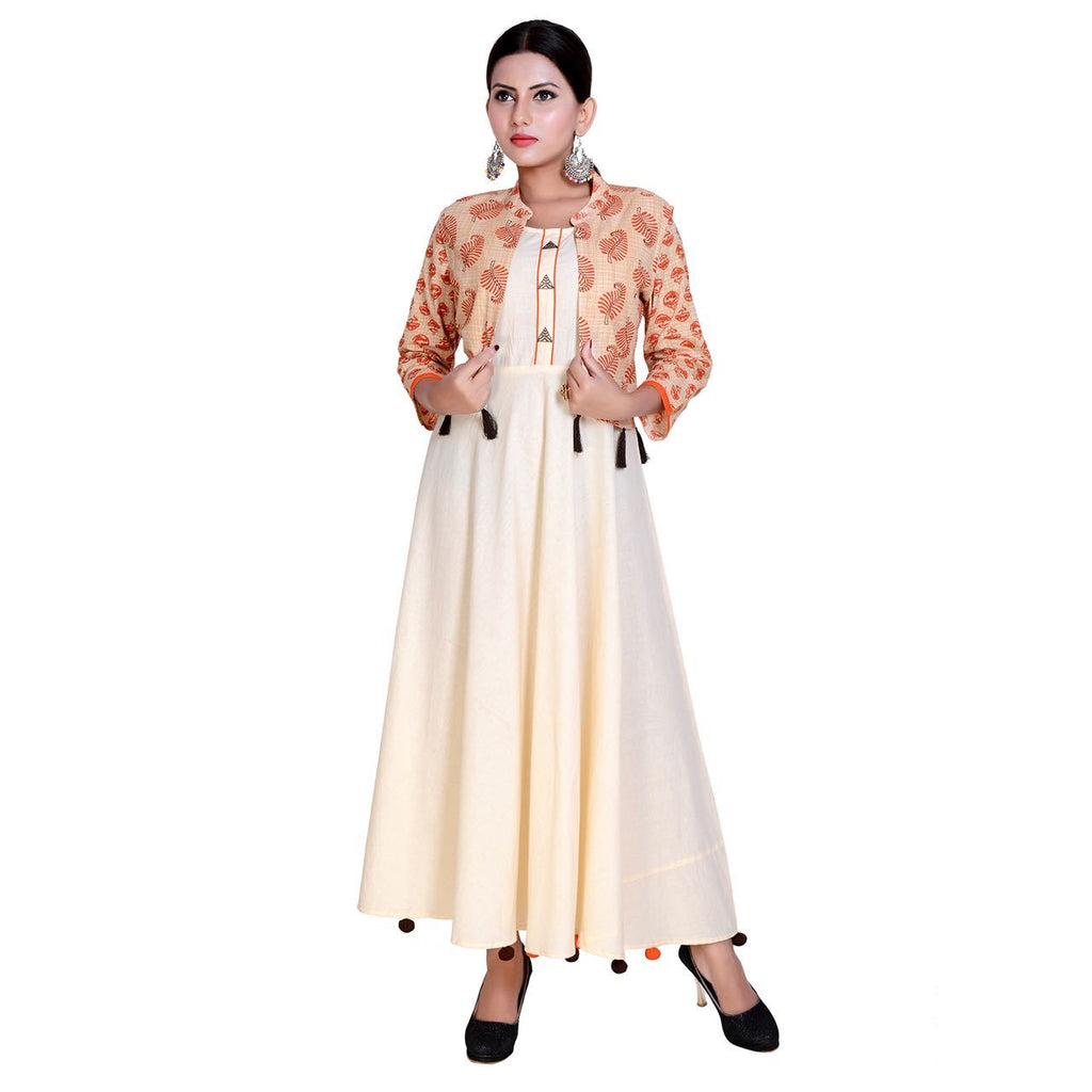Buy Cream Color Pure Cotton Stitched Kurti