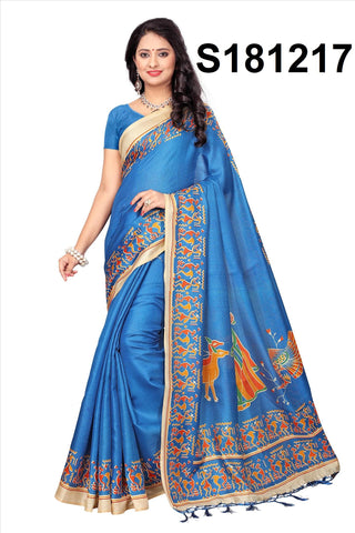 Blue Color Khadi Silk Saree - Khadi-S181217